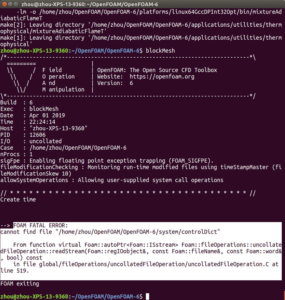 安装OpenFOAM编译后遇到错误
