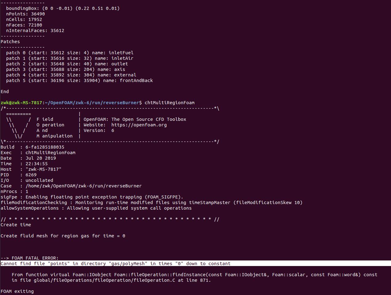 运行OpenFOAM案例文件chtMultiRegionFoam出错